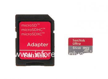 وصفت بطاقة الذاكرة سانديسك موبايل ألترا مايكرو (microSDXC فئة 10 UHS 1) 64GB للبلاك بيري