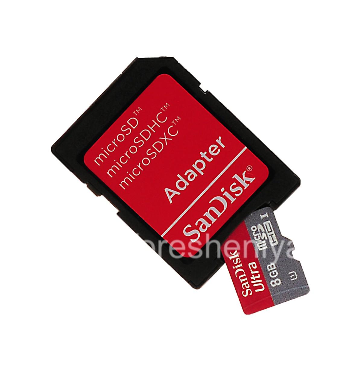 Branded memory card SanDisk Mobile Ultra MicroSD (microSDHC Class 10 UHS 1) 8GB for BlackBerry ...