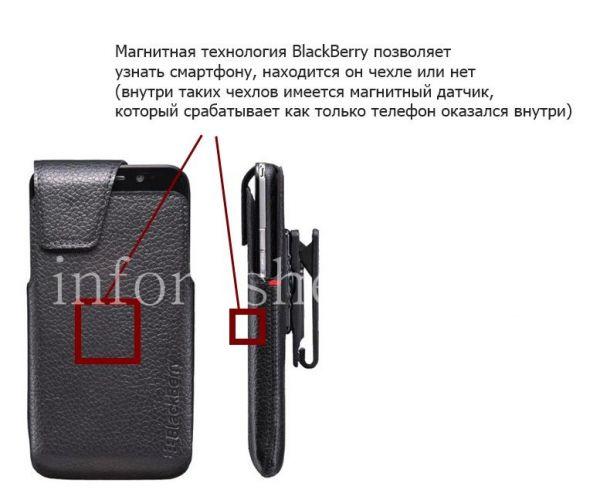 Для сайта: Важной характеристикой чехла для BlackBerry является способность работать с магнитной технологией BlackBerry, которая позволяет узнать смартфону находится он чехле или нет (внутри таких чехлов имеется магнитный датчик, который срабатывает как только телефон оказался внутри).