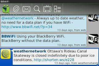 UbertSocial Twitter для BlackBerry
