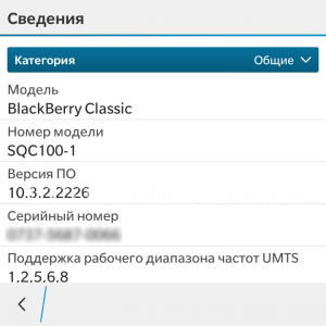 Сведения о системе в ОС BlackBerry 10