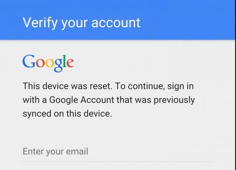 Диалог ввода учетной записи Google при активации защиты FRP