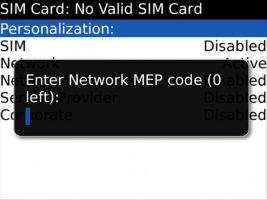 Разблокировка BlackBerry от оператора связи при 0 попыток ввода кода