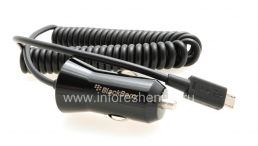 Оригинальное скоростное зарядное устройство (1.8A, MicroUSB) в автомобиль Premium In-Vehicle Charger для BlackBerry, Черный